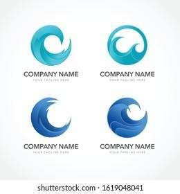 logo ocean wave tidal tsunami water