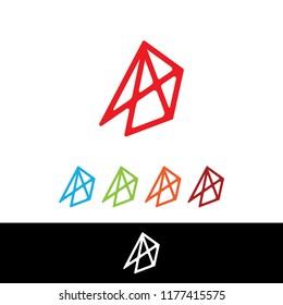 A logo octahedron, a letter A logo vector, symbol A octahedron. vector of octahedron