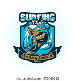 Logo on surfing. The emblem of male surfer on the board. Beach, waves, tropical island. Extreme sport. Badges shield, lettering. Vector illustration.