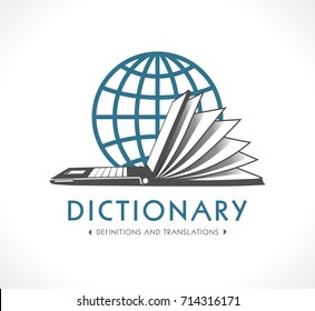 Logo - Online dictionary concept - Laptop as book