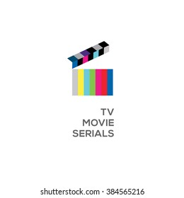 Logo for online TV, movie, serials, open clapperboard, vector illustration.