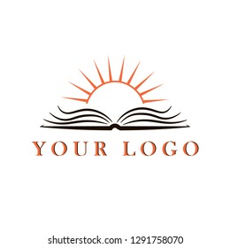 Logo. Open book and rising sun from it. Symbolizes develkpment and growing through the education.