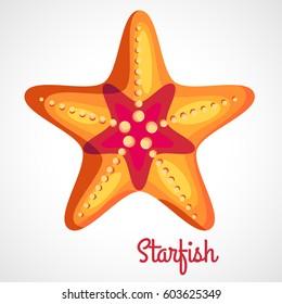 Logo orange starfish cartoon style on a white background