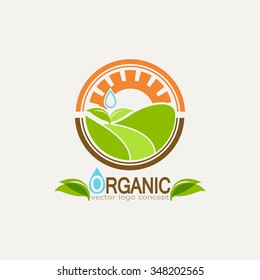 logo organic agriculture, natural product icon, the concept of agriculture, the emblem of fresh and natural foods, clean water and leaves, corn growing in the fields