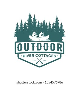 Logo outdoor adventure using a canoe boat in a natural forest river badge design, pine tree element.