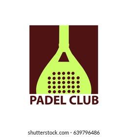 Logo paddle: Paddle tennis racket, inverted. White background. Vector image