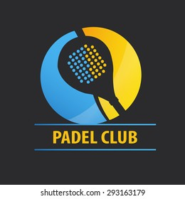 Logo paddle in two colors. Yellow and blue on dark gray background.
