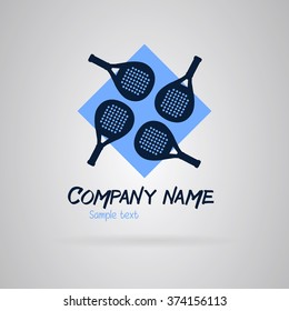 Logo padel with four rackets on a blue background. Vector