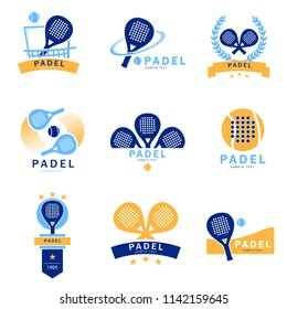 logo padel paddle tennis - set of tennis padel logos designed in three colors. Isolated vector