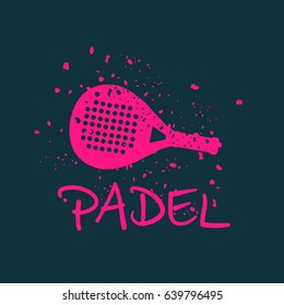 Logo padel pink: Racquet to play the pink paddle. Effect pieces falling apart. Vector image