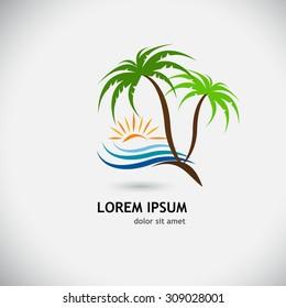 logo palm trees sun wave. Vector