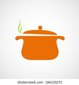 Logo of the pan with steam. Vector image.
