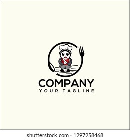 logo panda chef simple cartoon, Paper sticker of panda chef cartoon character giving thumb up illustration vector. - Vector
