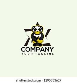 logo panda ninja, Panda ninja mascot, Modern panda logo ninja illustration. flat design samurai panda - Vector