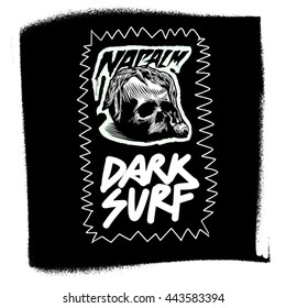Logo, patch for surf productions with lettering words