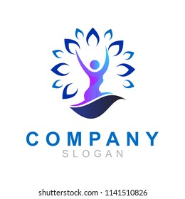 logo people are doing yoga sport, medical logo
