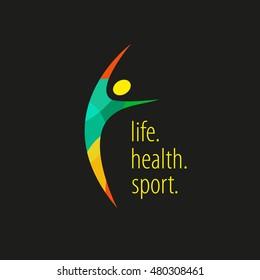 Logo person. sport style. Training. Exercises. Healthy lifestyle. Joy. A life. Health. Sport