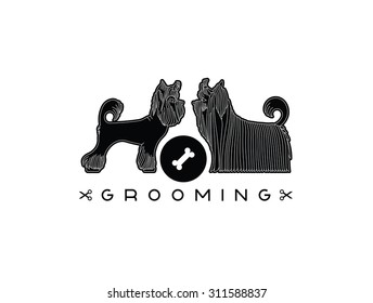 Logo pet grooming salon. Illustration with Yorkshire Terriers. Vector pet grooming logo. Dog groomer logo. Animal care logo. Vector dog grooming logo.