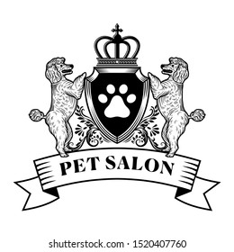 Logo for pet hair salon, styling and grooming shop. Vector illustration in classic style