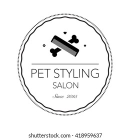 Logo for pet hair salon, styling and grooming shop, store for dogs and cats. Vector illustration