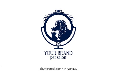Logo for pet hair salon, styling and grooming shop, store for domestic animals. Pet shop sign. Veterinary logo.