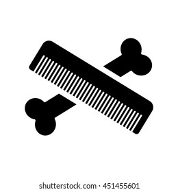 Logo for pet hair salon, styling and grooming pet shop, store for dogs and cats. Vector illustration