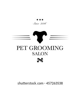 Logo for pet hair salon, pet styling and grooming shop, store for dog and cats. Vector illustration