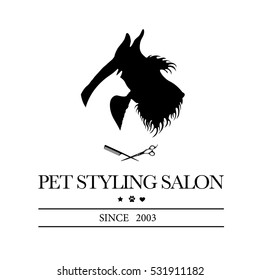 Logo for pet hair salon, styling and grooming shop, pet store for dogs. Vector illustration