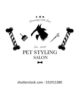 Logo for pet hair salon, styling and grooming shop, store for dogs. Vector illustration