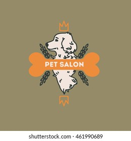 Logo for pet shop, salon, hair salon.Playing card with a cat and a dog. Vector illustration colorful