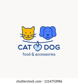 Logo for pet shop, veterinary clinic, pet store, shelter. Flat style design, vector illustration. Cute cat and dog badge with heart on collar