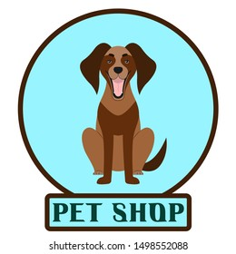 The logo for the pet store with the image of a dog.