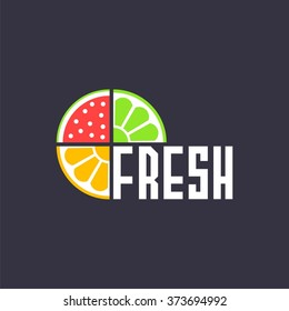 logo with pieces of fruits and word fresh. Vector design logo. Vector illustration