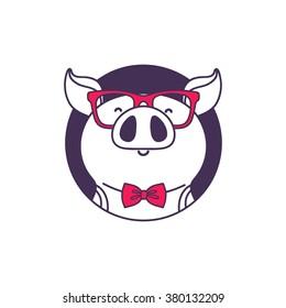 Logo pig hipster