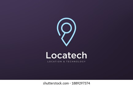 logo or pin icon, Simple position location with magnifying glass