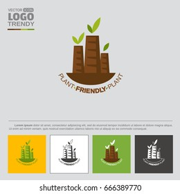 Logo with plant or factory tubes with green leaves. Symbol of nature friendly industry. Several color variations for logo usability.