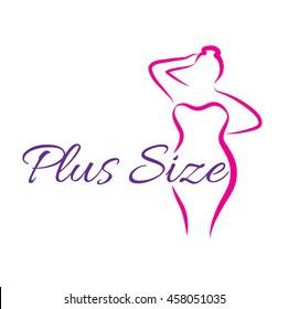 Logo plus size woman. Curvy woman symbol, logo. Vector illustration