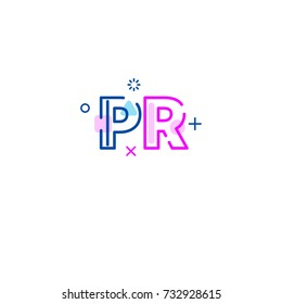 Logo pr. Icon public relations with cosmic characters. - Stock vector