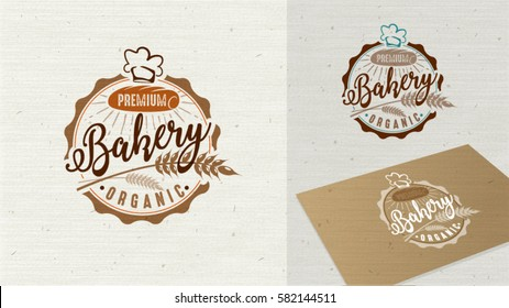 Logo Premium Bakery badge and icon. Modern style vector. Retro bakery label. Bakery badge design element easy editable for Your design.
