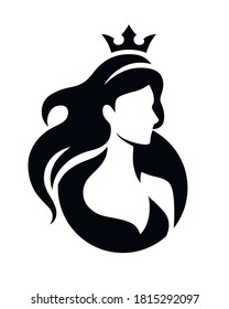 Logo princess. Beauty queen. Women in crown silhouette emblem. Girl face and hair.