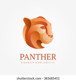 Logo puma head in an unusual gradient. Luxury logo for a prestigious company. Illustration for shirts.