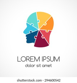 Logo puzzle human face template. Abstract circle brainstorming creative sign or symbol. Creativity, generating ideas, minds flow, thinking, imagination, inspiration concept. Design geometric element.