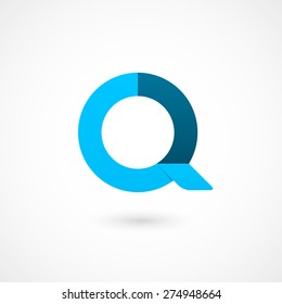 Logo Q letter. Isolated on white background. Vector illustration, eps 10.