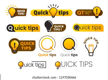 Logo quick tips. Yellow lightbulb icon with quicks tip text. Lamp of advice idea quickly solutions advices trick mark, helpful suggestions vector banner isolated sign set