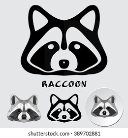 Logo of a raccoon face isolated. Vector geometric image