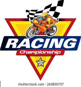 Logo racing championship with some elements such as motor sport, checkered flag, and a five-pointed star