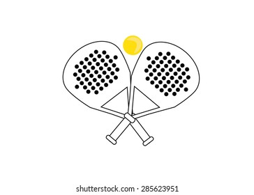 Logo  racket and a tennis ball. Logo in black and white and yellow
