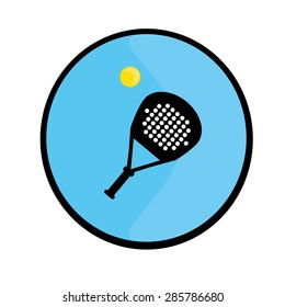 Logo  racket and a tennis ball. Logo in black and white and yell