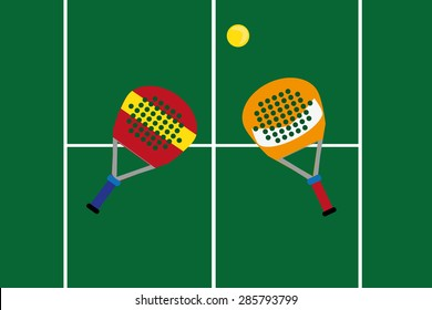 Logo  racket and a tennis ball paddle