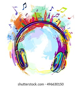 the logo of the radio station assorted colors, headphones music.